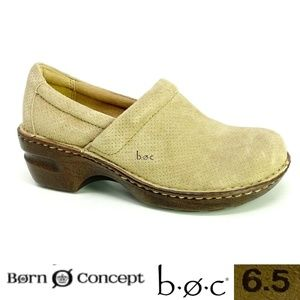 BOC Born Concept Peggy Sz 6.5 Tan Suede Clogs